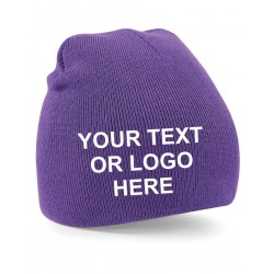 Pull On Embroidered Beanie Hat
